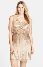 Adrianna Papell Rosegold Beaded Sleeveless Cocktail Party Dress Plus Size 22W