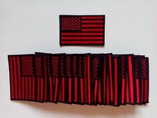 "50 USA American Flag (Black/Red) (B) Embroidered Patches 3.5""x2.25"""