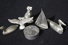 6pc Lot Vintage RAWCLIFFE CHILMARK CALLAHAN HUDSON Pewter Birds Dog Figurines