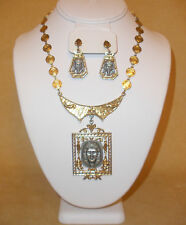 1970's Egyptian Pharoah Pendant Necklace & Earring Set by Art Jewelry