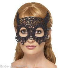 Womens Emroidered Black Lace Filgree Devil Eye Mask Masquerade Hen Halloween