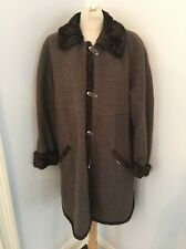 GEIGER Collections of AUSTRIA Brown Boiled Wool Jacket Car Coat Faux Fur Sz 36