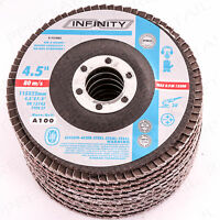 "Grit 100 FINE SANDING FLAP DISC Fits 4.5""/115mm Angle Grinding Wheel Metal/Wood"