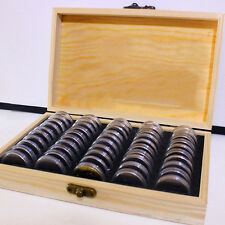 Wooden Coins Display Storage Case & 50 Round Boxes Shell For Slab Certified Coin
