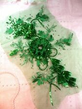 GB418 Embroidered Applique Rhinestone Center Green 3D Sequin Floral