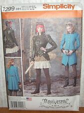 Misses Steampunk Costumes Coats Jackets Sewing Pattern/Simplicity 1299/SZ 6-12/N