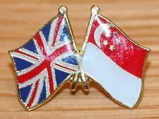 UK & SINGAPORE FRIENDSHIP Flag Metal Lapel Pin Badge Great Britain