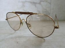 VINTAGE MILITARY true gold metal light tan lens wire temple aviator sunglasses