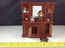 Dollhouse Miniature Furniture Wood Mahogany Mirror Cabinet w/ All Items 1:12