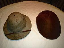 Original Antique CORK Pith HELMET and Bamboo Coolie / Rickshaw / Asain Rice hat