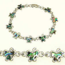 Inlaid Natural Abalone Paua Shell Shamrock Silver Colour Bracelet - Gift Boxed