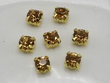 250 Golden with Gold Crystal Glass Rose Montees 4mm SS16 Sew on Rhinestones Bead