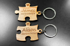 Personalised Puzzle Piece Keyring Set Present Gift Wedding Birthday !!