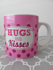 New Hug & Kisses Glittery Polka Dot Oversized Coffee Valentines Day Mug Cup