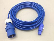 240v 16a Plug to Neutrik PowerCON NAC3FCA Input Cable 10m Arctic Blue 1.5mm Lead