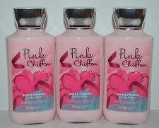LOT OF 3 BATH & BODY WORKS PINK CHIFFON LOTION CREAM SHEA BUTTER SIGNATURE 8 OZ