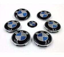 Complete BMW Set 7x (2x82+68+45mm) Carbon Fiber Blue/White Emblem Logo For BMW