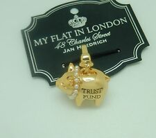 Brighton My flat In London -PIGGY charm-gold tone-piggy bank trust fund