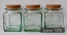 Set of 3 - 500ml 100% Recycled Glass Cork Lid Square Storage Jar (Save 10%)