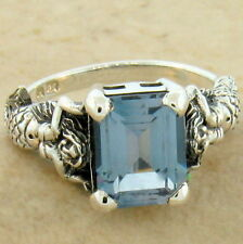 MERMAID SIM. AQUAMARINE ANTIQUE STYLE 925 STERLING SILVER RING SIZE 7.75,   #604