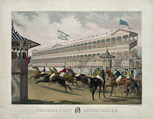 """1868 ART, Horse Racoing, Jerome Park, N.Y. Jocky, Colored giclee, 18""""x13"""" print"""