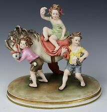 "Capodimonte Bruno Merli Figurine ""Children with Pony"" MINT WorldWide"