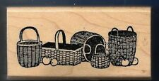 STRAW BASKET BORDER Apples Occasion DELAFIELD E432 Wood Mount Craft RUBBER STAMP