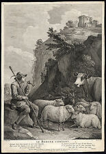 Antique Master Print-LE BERGER CONTENT-SHEPHERD-HERD-Ingram-David Teniers-1741