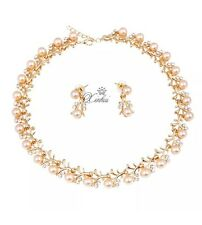 B83 Cultured Pink Pearl Necklace Earring Set 10K Yellow Gold Plated Jewelry Set