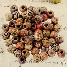 100pcs Assorted Round Wooden Beads for Jewelry Making Loose Spacer Charms 12mm