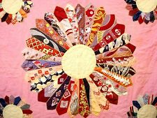 Vintage Dresden Plate Quilt silk tie quilt early 1900'S 1910'S 1920'S