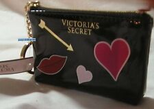 NWT VICTORIAS SECRET Cosmetic Bag Card Pouch Pink Heart Lip Gold Arrow KeyChain