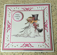 """Large Handmade Lili of the valley Happy Wedding day card bride & groom 7"""" square"""