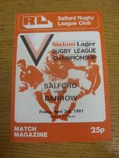 03/04/1981 Rugby League Programme: Salford v Barrow  . Condition: We aspire to i