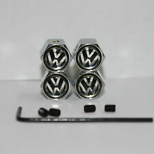 4PCS Black Anti-theft Tire Valve Caps Car Wheel Tyre Valve Cap Cover For VW