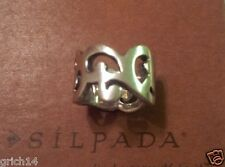 SILPADA SCROLLING, WIDE BAND STERLIING SILVER RING R1200 SIZE 6 RETIRED