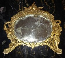 ANTIQUE VICTORIAN DESK MIRROR GILDED CAST IRON ORNATE CHERUBS ANGELS B & W