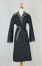 VINTAGE Pendleton Reversible Gray & White Blanket Plaid 100% Wool Dress Coat S