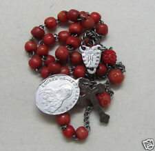 "† c1700s ANTIQUE DOUBLE SIDED SACRED HEART"" CRUCIFIX DYED CORAL ROSARY CHAPLET †"