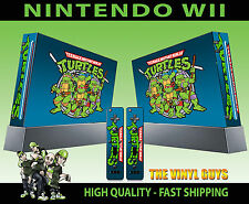 NINTENDO WII STICKER CLASSIC TEENAGE MUTANT RETRO TURTLES SKIN & 2 PAD SKINS