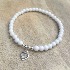 925 Silver Beaded White Jade Gemstone Bracelet Heart Charm HANDMADE, Stretchy