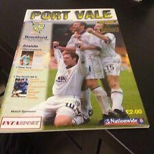 Port Vale v Brentford 2000-01
