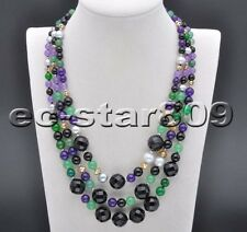 "S2050 3Row 19"" lavender green jade & black agate Bead gray pearl Necklace"