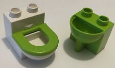 *NEW* Lego DUPLO Furniture WHITE TOILET with LIME GREEN RIM & LIME GREEN SINK