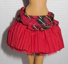 BOTTOM ~ BARBIE DOLL MODEL MUSE LITTLE RED RIDING HOOD RED PLEATED PLAID SKIRT