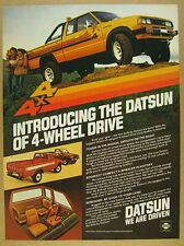 1980 Datsun King Cab Pickup 4X4 yellow truck photo vintage print Ad