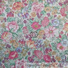 BonEful FABRIC FQ Cotton Quilt VTG White Pink Purple Yellow Blue Flower Cottage