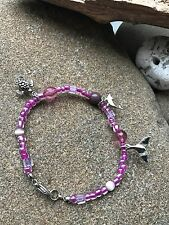Pink Beads Pewter Dolphin/Turtle/WhaleTurtle/Whale Tail Bracelet