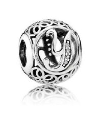 New Authentic Pandora Charm 791869CZ Vintage Letter Y Clear CZ Box Included