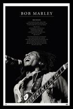 REGGAE MUSIC POSTER Bob Marley Iron Lion Zion - Black and White